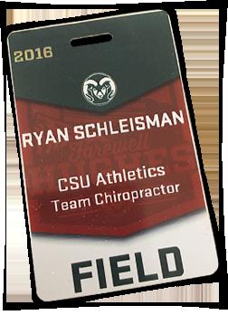 CSU Athletics Team Chiropractor Ryan Schleisman